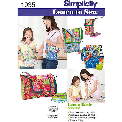 Simplicity Pattern Learn To Sew Bags, One Size