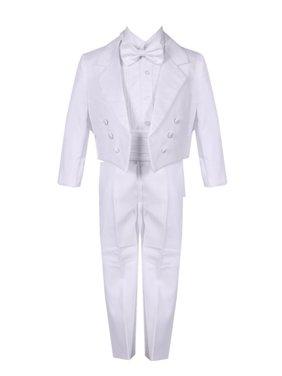 Boys White 5 Piece Vest Jacket Pants Special Occasion Tuxedo Suit