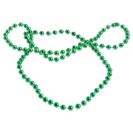 (Price/Dozen)JA666-10 Green Metallic 6mm Bead Necklaces - Green Bead Necklaces