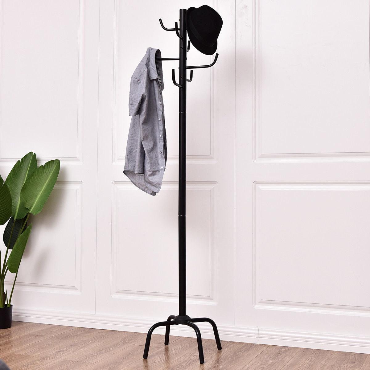Gymax metal coat hat rack clothes hanger tree stand hall umbrella holder