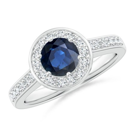 September Birthstone Ring - Blue Sapphire Halo Ring with Diamond Accents in Platinum (6mm Blue Sapphire) - SR0150S-PT-AA-6-10.5