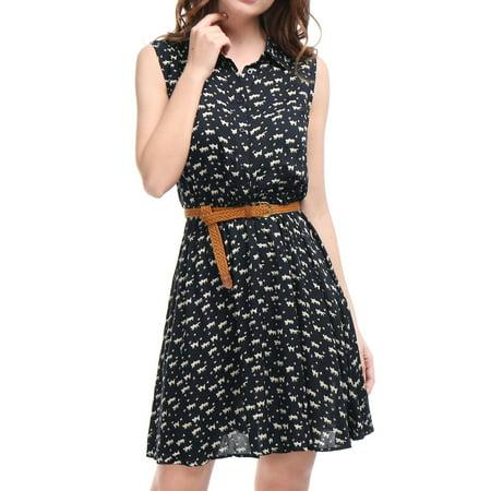 Women Daisy Print Point Collar Sleeveless Unlined Belted Shirt Dress - Dress Up Daisy