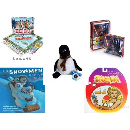 Children's Gift Bundle [5 Piece] -  Horse-Opoly Board  - Crayola Crayons Star Wars Darth Vader Collectible Tin  - Parkway s Penguin  9