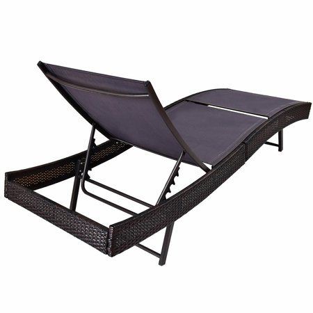 Gymax 2PCS Patio Sun Bed Adjustable Pool Wicker Lounge Chair Furniture - image 4 of 10
