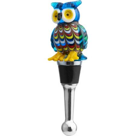 Venetian Design Wise Blue Owl Glass Art Wine Bottle Stopper Topper