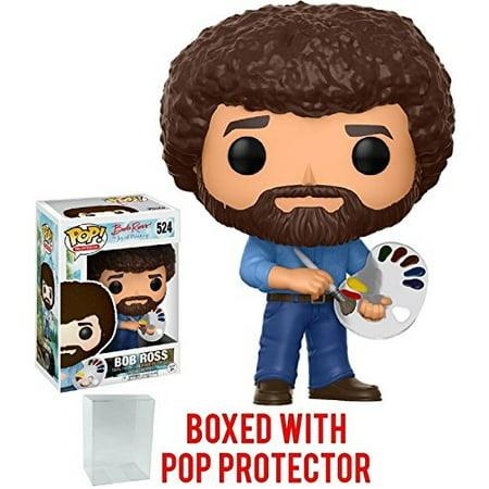Painting Vinyl Figures - Funko Pop! Television: Bob Ross - The Joy of Painting #524 Vinyl Figure (Bundled with Pop Box Protector Case)