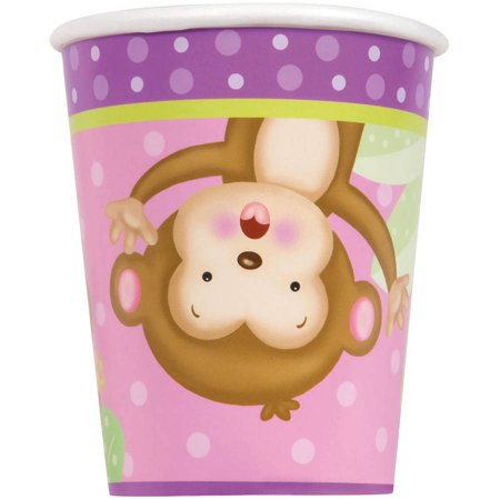 9oz Monkey Baby Shower Paper Cups, Pink, 8ct for $<!---->