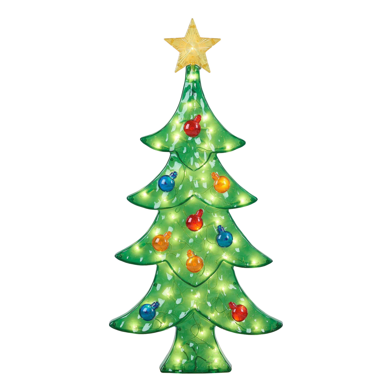 Holiday Time Light Up Icy Christmas Tree Decoration 30 Walmart Com Walmart Com
