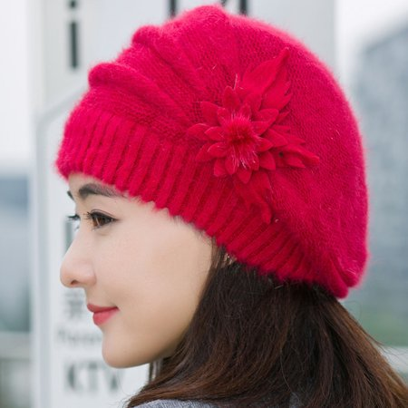 Crochet Winter Beanie - DZT1968 Fashion Womens Flower Knit Crochet Beanie Hat Winter Warm Cap Beret