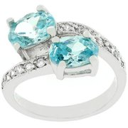 Sunrise Wholesale J2663 05 White Gold Rhodium Bonded Pave Set Clear Round CZ Band Blue Bonnet Ring