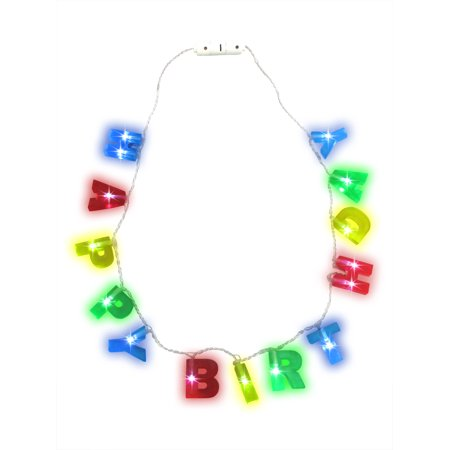 Light up LED Happy Birthday Party Letters Flashing Necklace, One Size - Flashing Happy Birthday