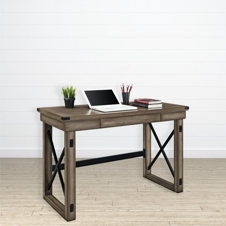 Wildwood Wood Veneer Desk, Rustic Gray (Industrial Computer Desk)