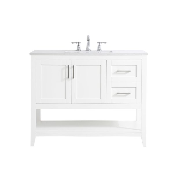 42 Inch Single Bathroom Vanity In White Walmart Com Walmart Com