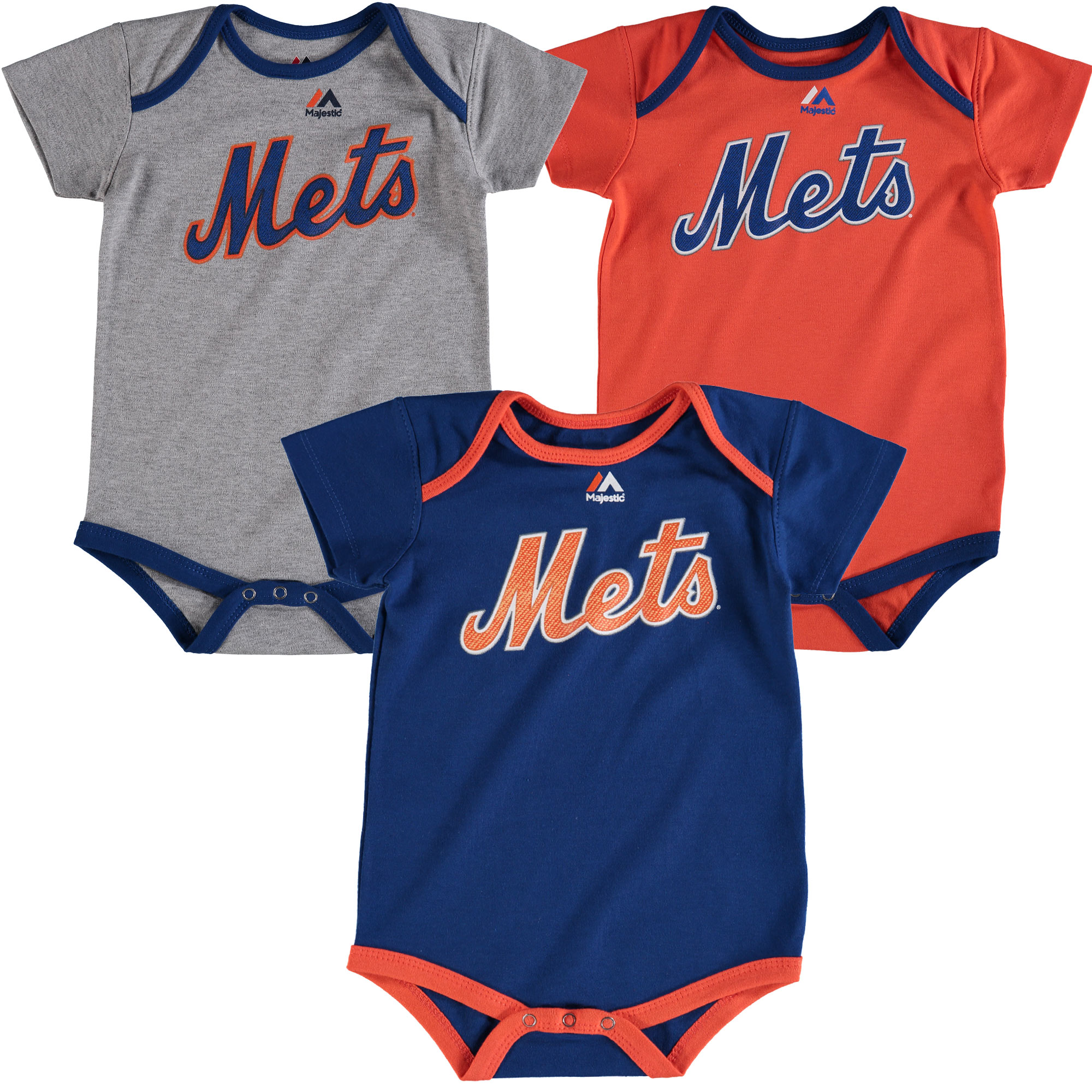 Noah Syndergaard New York Mets Majestic Infant Name & Number 3-Pack Bodysuit Set - Orange/Royal/Gray - 24 MO