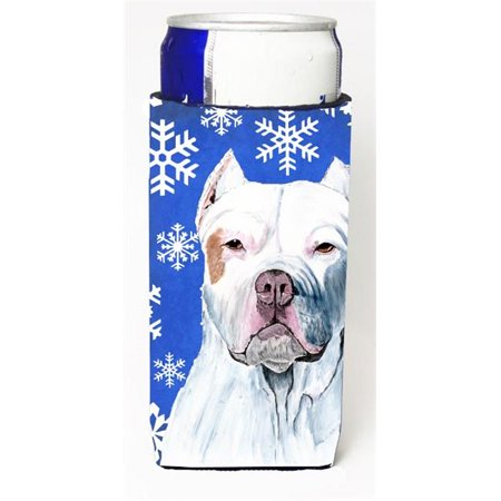 Carolines Treasures SC9381MUK Pit Bull Winter Snowflakes Holiday Michelob Ultra bottle sleeves For Slim Cans - image 1 of 1