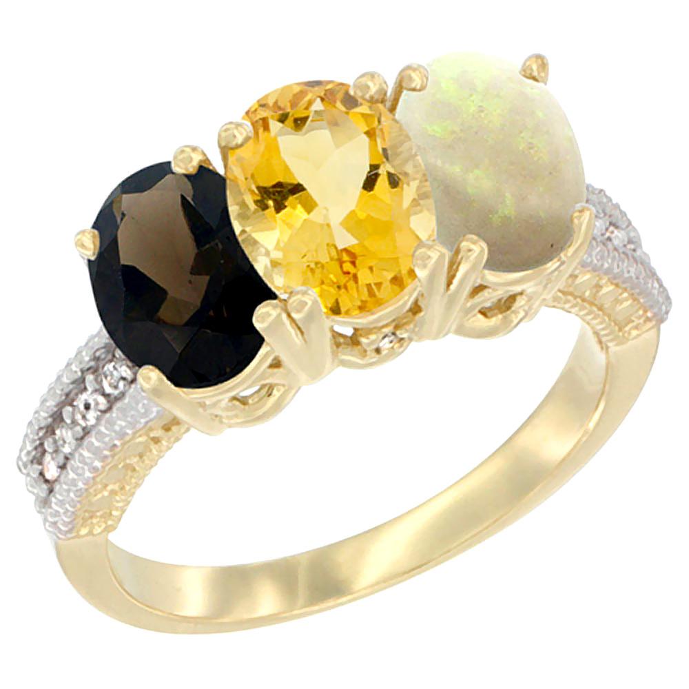 10K Yellow Gold Diamond Natural Smoky Topaz, Citrine & Opal Ring 3-Stone 7x5 mm Oval, sizes 5 10 by WorldJewels