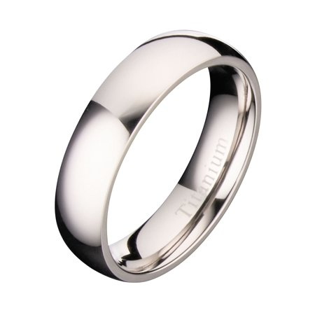 5mm Polished Titanium Wedding Ring Comfort Fit (5mm Titanium Band Ring)