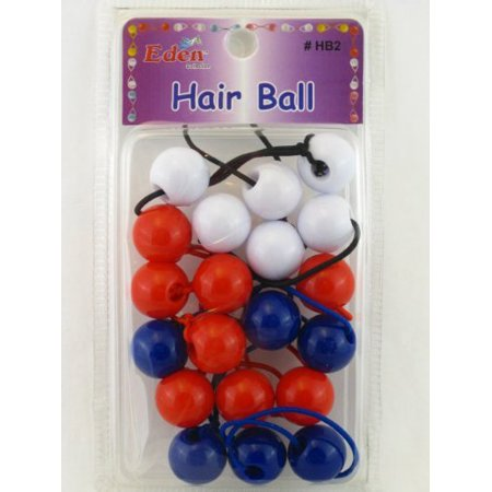 Eden Twinbead Bubble Hair Elastics - Red,White And Blue - 10 Pcs., Keeps Hair Up & Out Of Your Face By Eden Enterprise Ship from US (Hair Baubles)