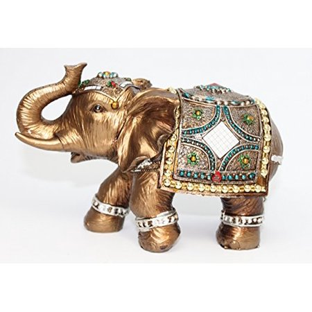 Feng Shui Brass Color 6 inch Elegant Elephant Trunk Statue Wealth Lucky Figurine Home Decor Gift