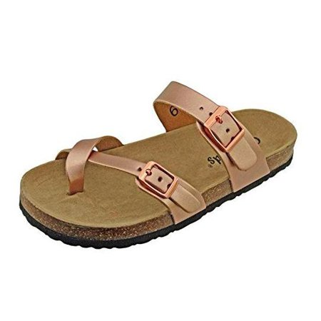 Outwoods Women's Bork 30 Rose Gold Birk Style Toe Loop Slide On Sandal Size: 7 - Birkenstock Girls