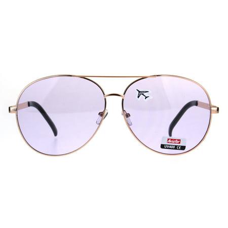 Oversize Flat Color Lens Metal Rim Officer Pilots Sunglasses Purple - Purple Sunglasses Cheap