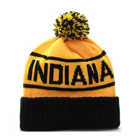 US Cities USA Great American Cities States Cuff Knit Pom Pom Beanie Hat
