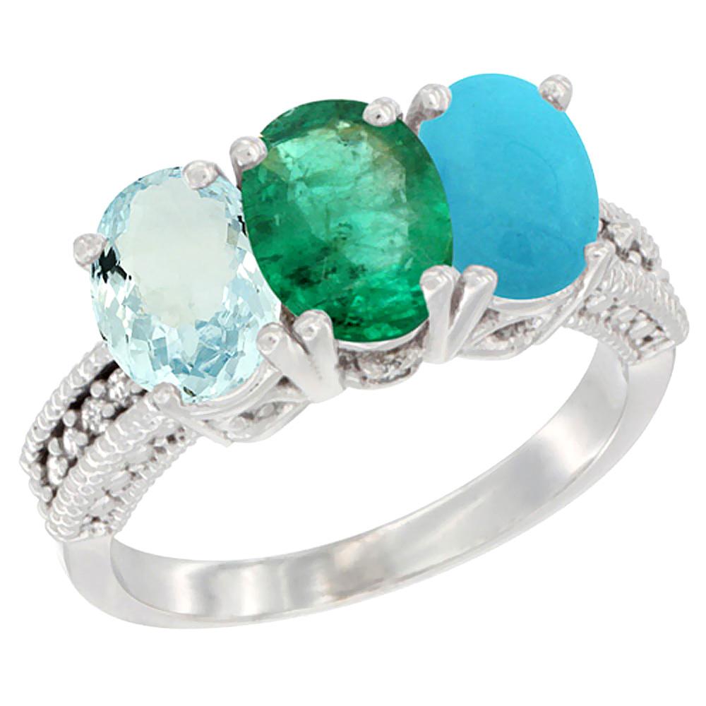 10K White Gold Natural Aquamarine, Emerald & Turquoise Ring 3-Stone Oval 7x5 mm Diamond Accent, sizes 5 - 10
