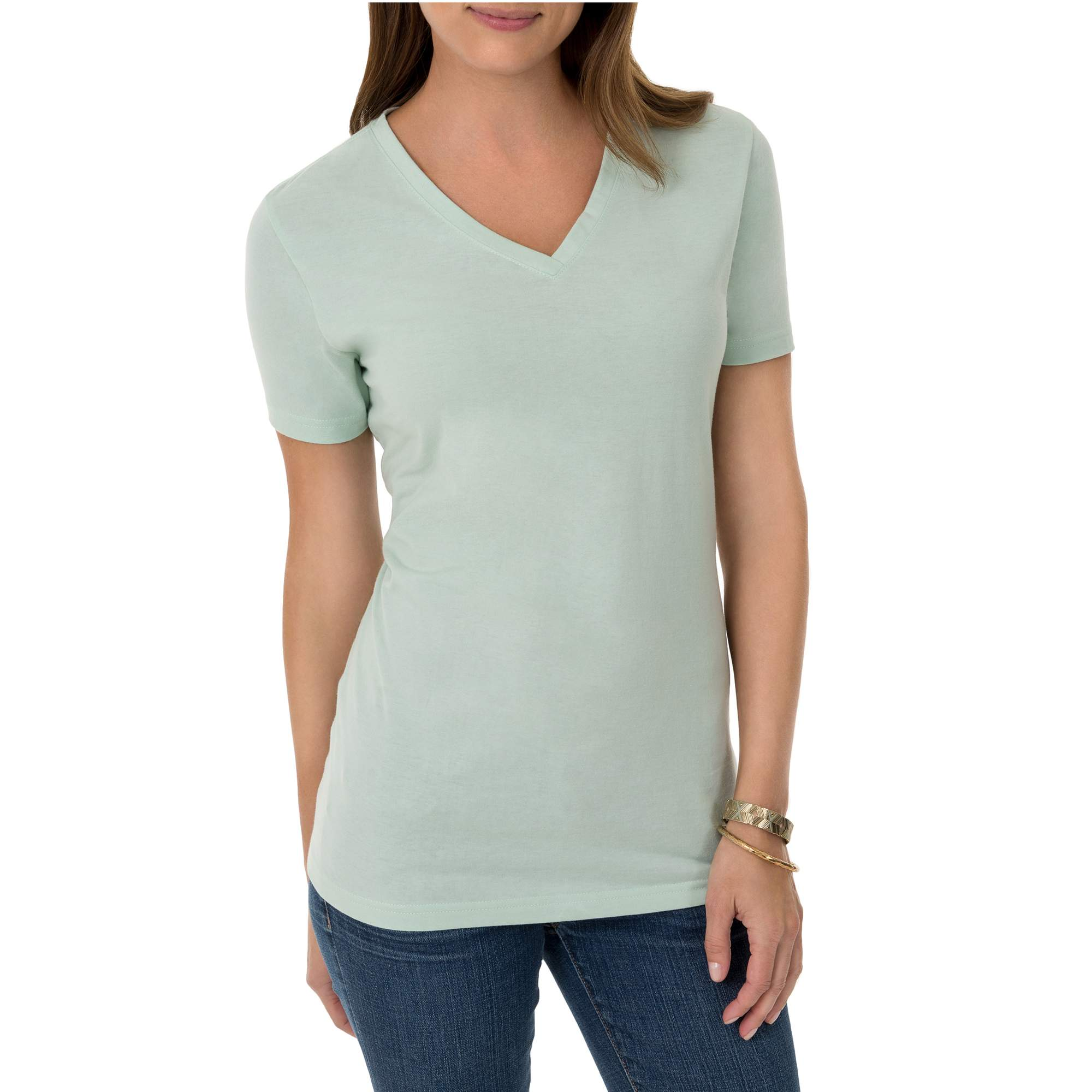 Time And Tru Women's Short Sleeve V-Neck T-Shirt