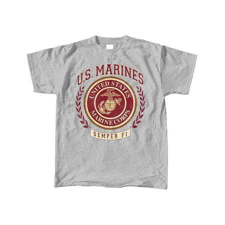 Vintage Military Logo Motto T-Shirt, Branch - Marines Semper (Marines Logo Shirt)