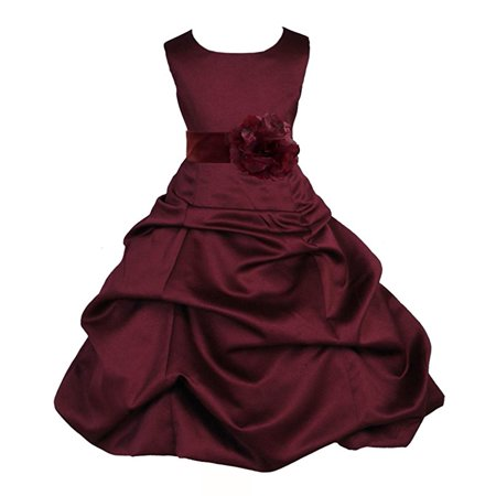 5a76d63706f Ekidsbridal Matching Burgundy Satin Pick-Up Bubble Flower Girl Dress  Weddings Easter Dress Special Occasions Pageant Toddler Birthday Party  Holiday Bridal ...