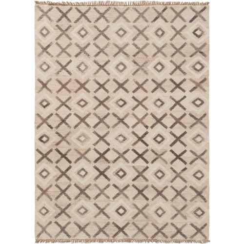 Walmart Moose Rug: Union Rustic Garcia Hand-Woven Wool Beige Area Rug