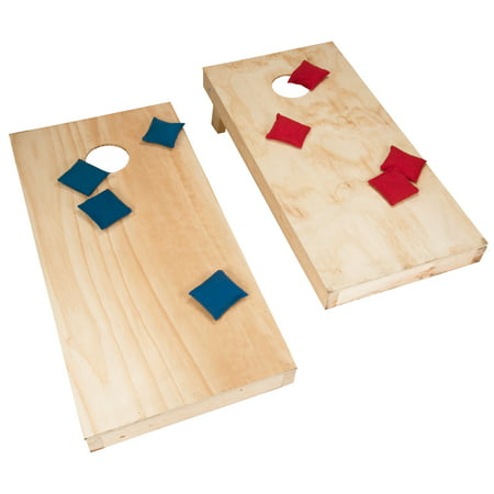 Unfinished Regulation Size Wooden Cornhole Boards and Bags, Beanbag Toss Game by Hey! Play! ()