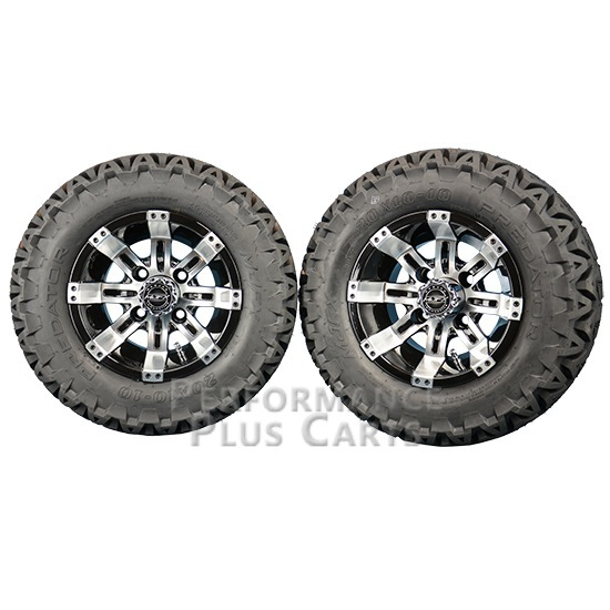 """Octane 10X7 Machined Silver and Black Golf Cart Wheels with 20"""" A/T Tires - Set"""