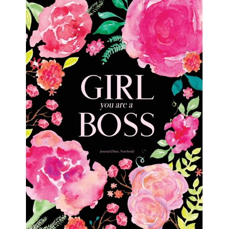 Girl You Are a Boss Journal (Diary, Notebook): Pink Black Floral Watercolor Journal for Girls and Women, 8.5 X 11 (Paperback) - Watercolor Girls