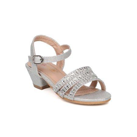 12874f7bfdf6 DbDk - Girls Glitter Rhinestone Strappy Kiddie Heel - Formal