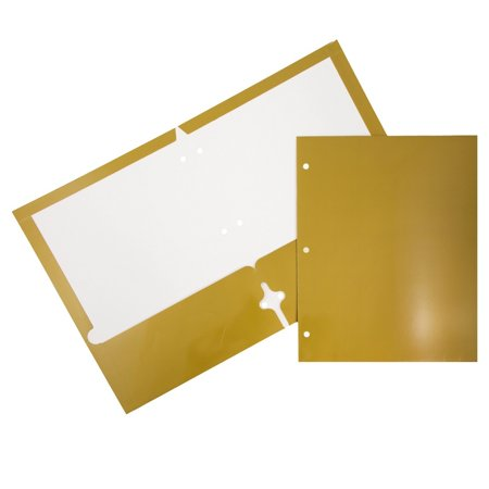 Glossy 2 Pockets - JAM Paper Glossy Two Pocket 3 Hole Punched Presentation Folder, Gold, 6/pack