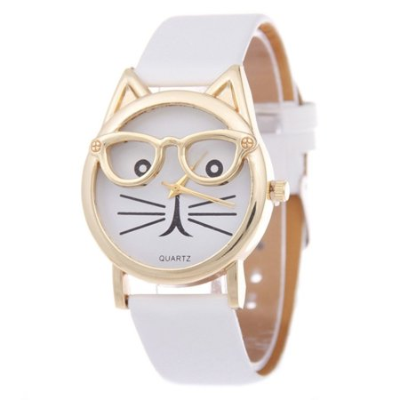 - Cool Kitty Cat with Glasses White Band Cat Lovers Novelty Wa-214-W