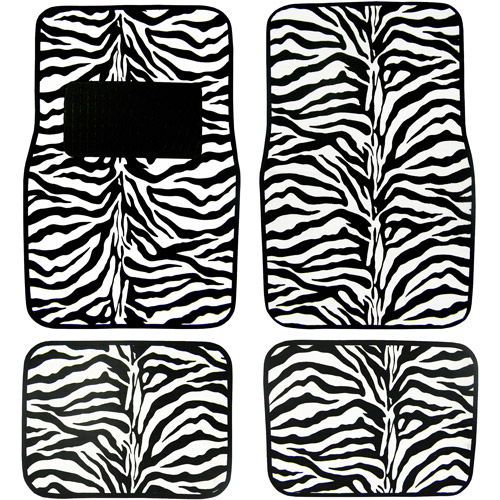 Plasticolor Zebra Wild Skins Floor Mat Set, 4pc