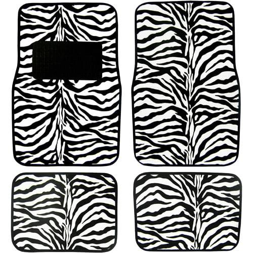 Plasticolor Zebra Wild Skins Floor Mat Set, 4pc