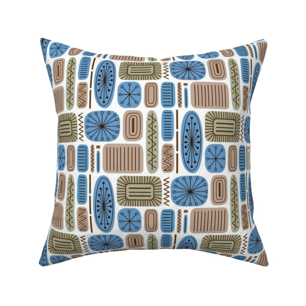 Mid Century Modern Geometric Throw Pillow Cover w Optional Insert by Roostery