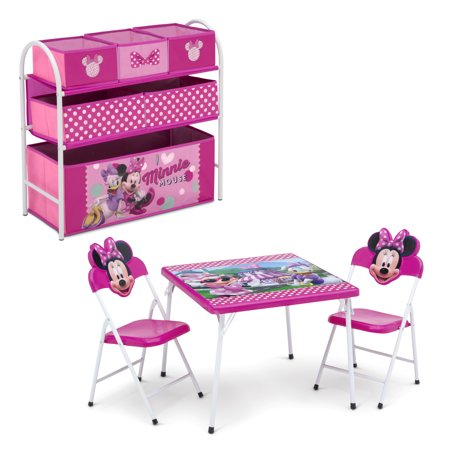 Disney Minnie Mouse 4-Piece Toddler Playroom Set by Delta Children - Includes Table & 2 Chair Set and Multi-Bin Toy Organizer