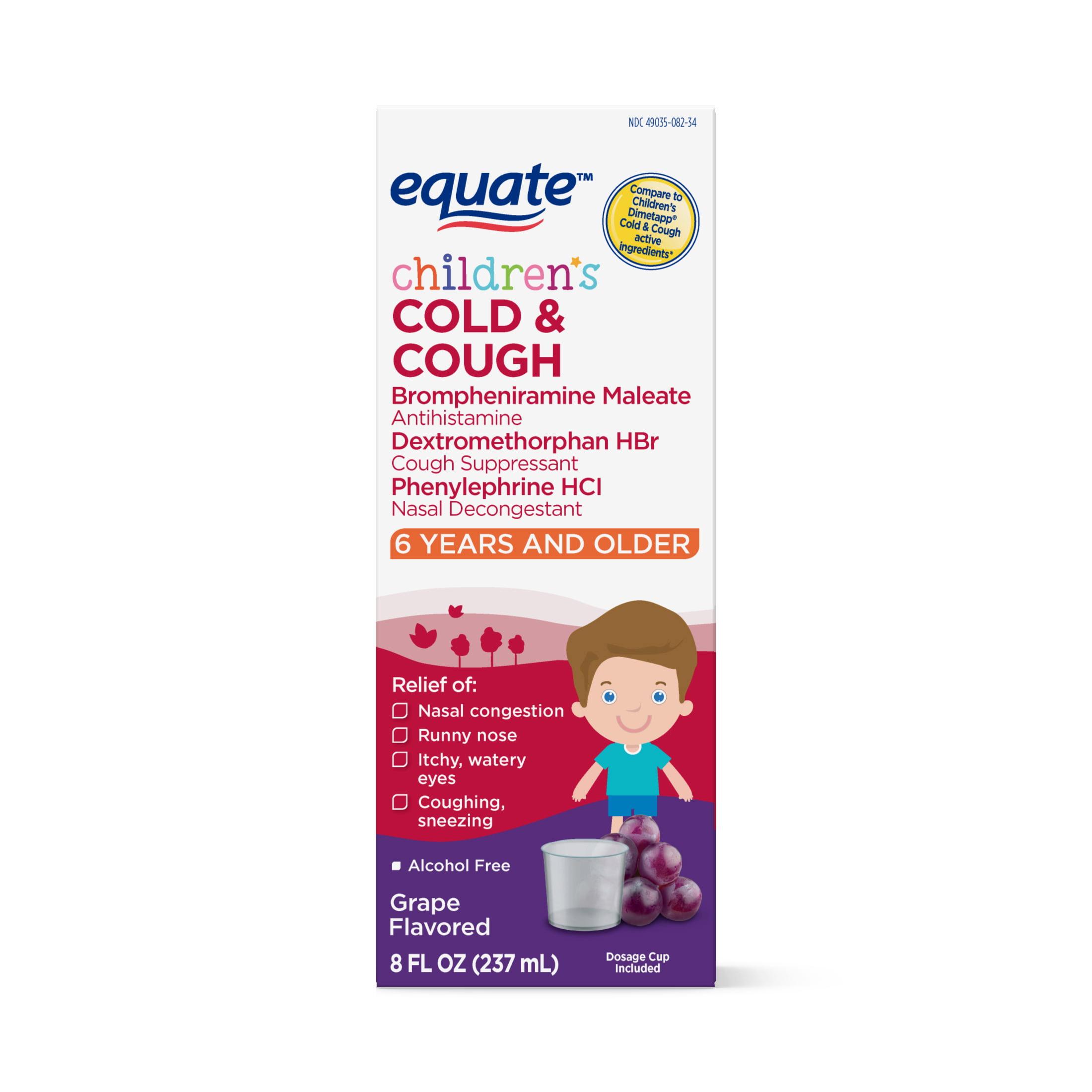 Equate Children's Cough & Cold DM Elixir, Grape, 8 fl oz