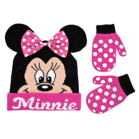 Disney Minnie Mouse Bowtique Polka Dot Hat and Mitten Cold Weather Set, Toddler Girls, Age 2-4 (Mouse Mittens)