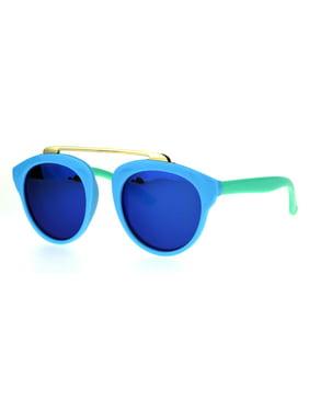 74aaa51d28 Product Image Girls Kids Size Color Mirror Plastic Horned Rim Metal Top  Bridge Sunglasses Black Teal