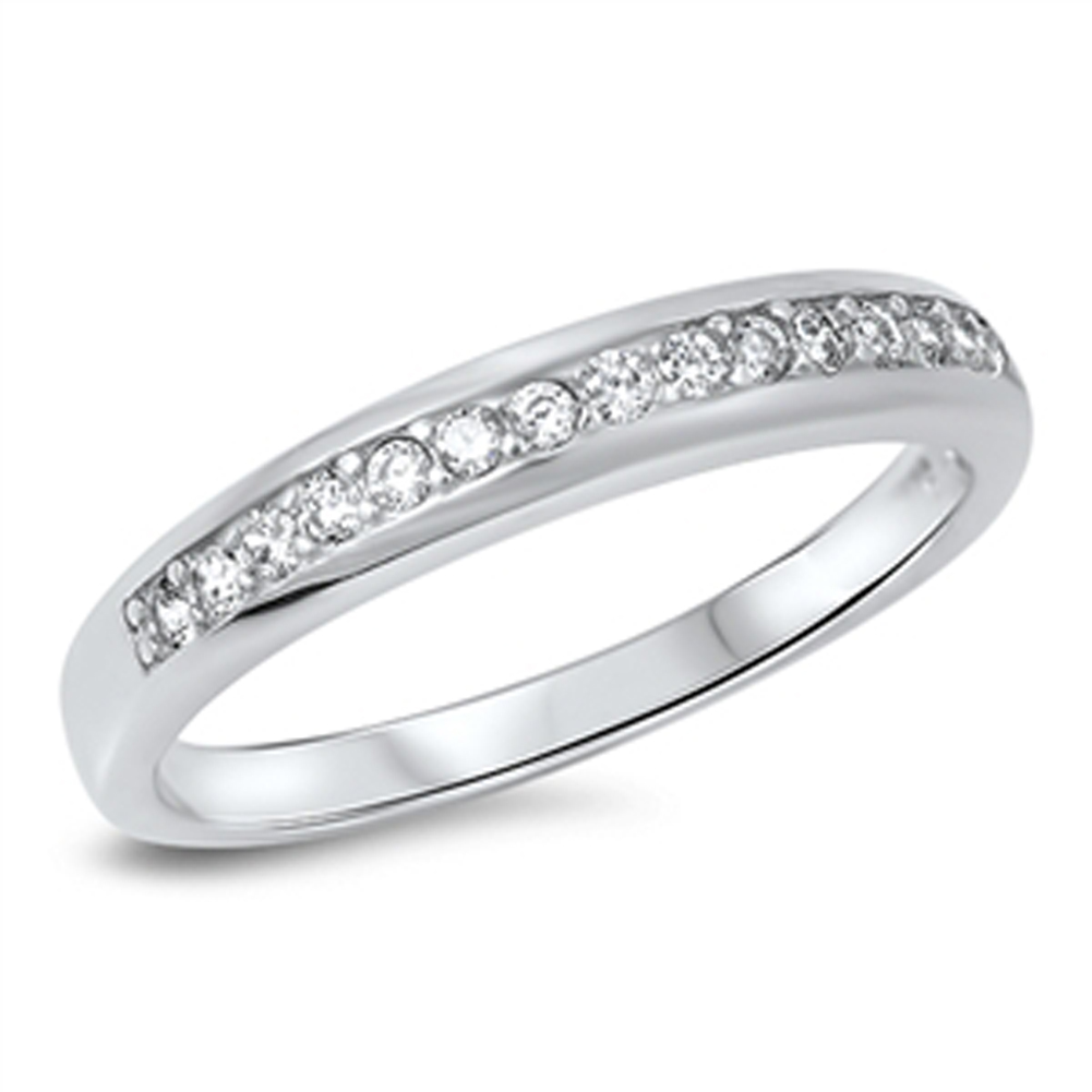 Wedding Band White CZ Beautiful Elegant Ring ( Sizes 5 6 7 8 9 10 ) New .925 Sterling Silver Rings by Sac Silver (Size 9)