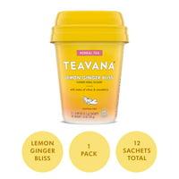 Teavana Lemon Ginger Bliss, Herbal Tea With Citrus & Strawberry, Caffeine Free (1 Pack, 12 Sachets Total)