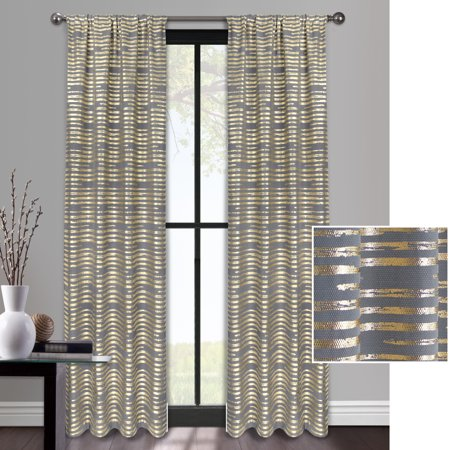 Mainstays Mirage Stripe Metallic Gold or Silver Window Curtain Panel - Metallic Silver Audio