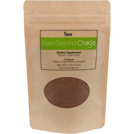 8 Oz Mushroom - Sayan Siberian Raw Ground Chaga Powder 6 Oz (170g)   Wild Forest Mushroom Tea   Powerful Adaptogen Antioxidant Supplement   Support for Immune System, Digestive Health and Helps Inflammation Reduction