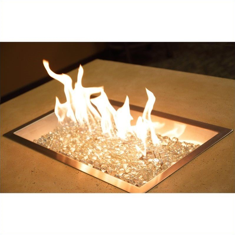 "Outdoor Greatroom Company D.I.Y. 12"" x 24"" Rectangular Crystal Fire Pit Burner"