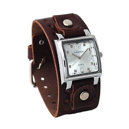 BBB516S Men's Dark Brown Wide Leather Cuff Band Analog Silver Dial Watch Dark Brown Leather Band